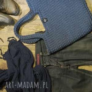 torba-koszyk z bawełnianego sznurka, torba, ze-sznurka, bawełna, dziergana
