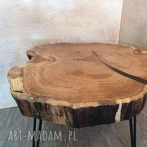 stolik kawowy drewniany - jesion, drewno, kawowy, żywica