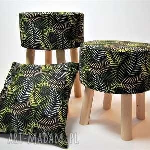 Fjerne M czarne liście, zielony, stołek, taboret, dekoracja, drewno