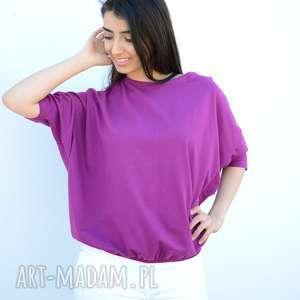 szeroka luźna bluzka nietoperz oversize fioletowa, bawełna, nietoperz, ponczo