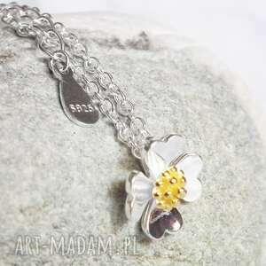 naszyjniki delikatny srebrny naszyjnik czterolistna koniczynka na szczęście