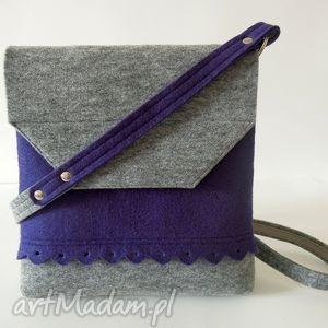 filcowa torebka z falbanką- 2 kolory- szara fioletem, filc, filcowa, torebeczka