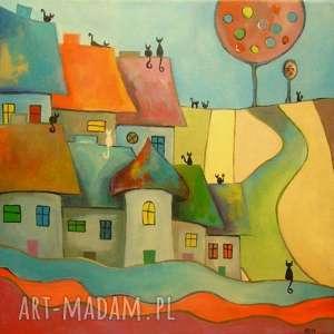 obraz na płótnie - bajkowe miasteczko kotów 40/40 cm, abstrakcja, niebieski