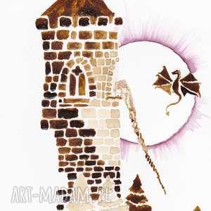 aksinicoffeepainting roszpunka i jej smoczyca - księżniczka baśń