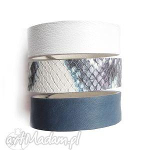 ręcznie wykonane komplet trzech bransoletek skórzanych niebiesko biały