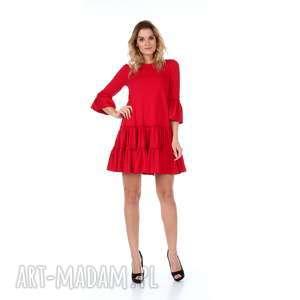 Czerwona sukienka z falbanami, sukienka, bawełna, dzianina, rozkloszowana, falbana