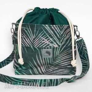 torebka listonoszka liście palmowe z kominem welur tapicerski, welur, mała