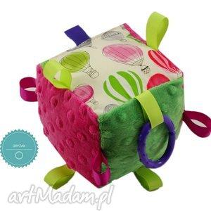 kostka sensoryczna gryzak, wzór balony - gryzak, metkowiec, metki, balon, balony