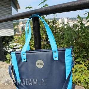 damska torebka na ramię cuboid granatowa, torba do pracy, ramię