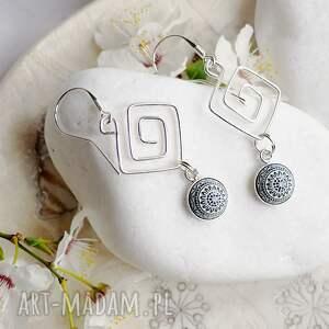 srebrne wiszące kolczyki z mozaikowym oczkiem, srebro, srebrne, mozaika