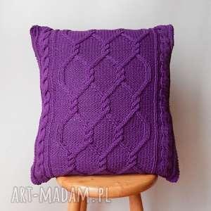 poduszki duża fioletowa poduszka, dziergana, bawełna, miękka, przytulna