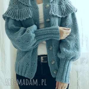 kardigan z falbankami - ażurowy falbanki, sweter wełniany