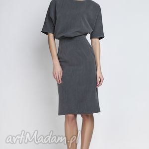 sukienki sukienka, suk123 grafit, ołówkowa, wyszczuplająca, kobieca, elegancka