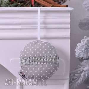 bombka świąteczna szara, bombka, bombka-hand-made, ozdoba-świąteczna