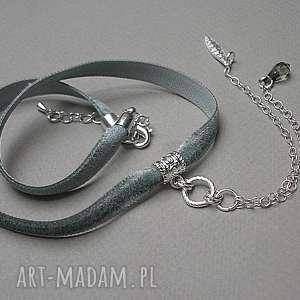 choker - siwy, choker, aksamitka, łańcuszki, swarovski, metal naszyjniki biżuteria