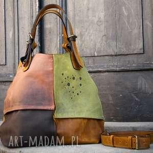 Torebka skórzana torba na ramię ręcznie robiona Alicja Ladybuq Art oryginalna pojemna