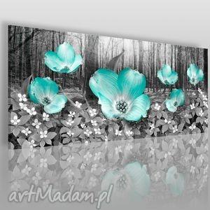 obrazy obraz na płótnie - łąka miętowe kwiaty 120x50 cm 11101, łąka, kwiaty, płatki