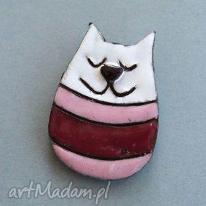 kicia - broszka ceramiczna, wielbiciel, kot, kociara, prezent, upominek, miau
