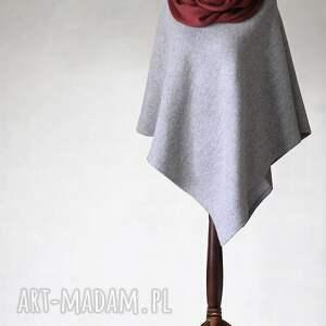 poncho z wełny parzonej i dzianinowym otulaczem, poncho, sweter, otulacz, dzianina