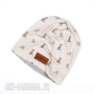 czapka w kotki dla kociary na prezent beanie - czapka, ciepła, kot, kotki, kociara