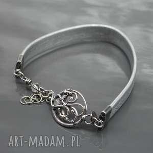 bransoletka - srebrny rzemień naturalny she efl - bransoletka, rzemień, srebro