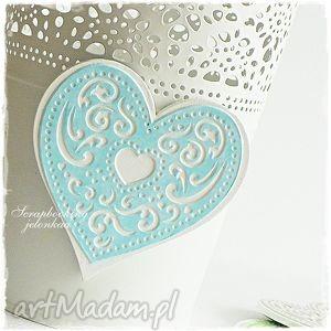 koronkowe serce - magnes, serce, lodówka, miłość, walentynki, koronka dom