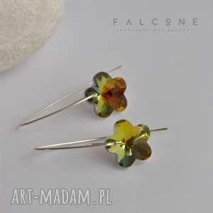 kryształowy kwiat, kolczyki, srebro, nowoczesne, kobiece, kwiaty, kryształ