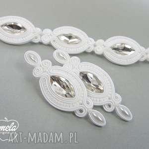 MEL -kpl ślubny sutasz kolczyki i bransoletka biel, komplet, ślubny, sutasz, soutache