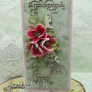 hand-made scrapbooking kartki kartka ślubna w pudełku
