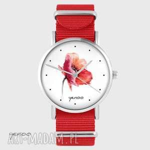zegarek - mak czerwony, nato, zegarek, bransoletka, mak, pasek, prezent