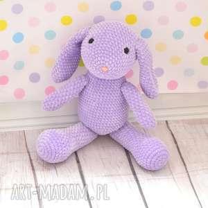 Szydełkowy fioletowy króliczek z dedykacją - mały, królik, zając,