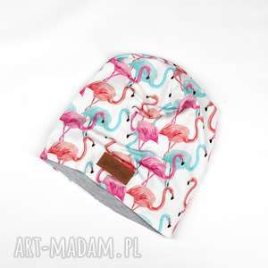Czapka flamingi flaming kolorowa beanie, czapka, flamingi, kolorowa, ciepła