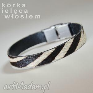 bransoletka skórzana zebra, skóra, włosie