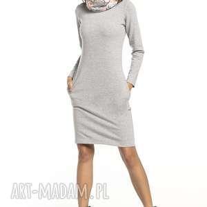 sukienka sportowa z kominem wzorzystymi dodatkami, t295, jasnoszary / kwiatowy
