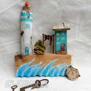 wieszaki wieszak z morską latarnią, domki drewna, drewniany, ozdoba