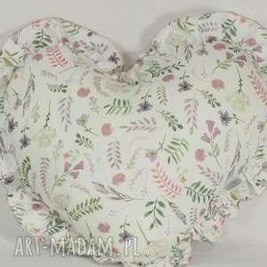 Poduszka serce z falbanką akwarelowe kwiatki, poduszka-serce, serce-z-falbanką