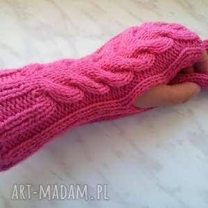 ręcznie wykonane rękawiczki różowe mitenki wełniane