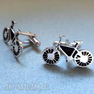 jegobizu srebrne spinki do mankietów rower, mankietów