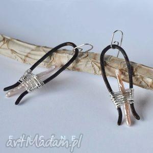 long strange - kolczyki, perły, srebro, miedź, surowe, oryginalne