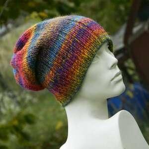 ręczne wykonanie czapki kolorowa boho czapka - melanż