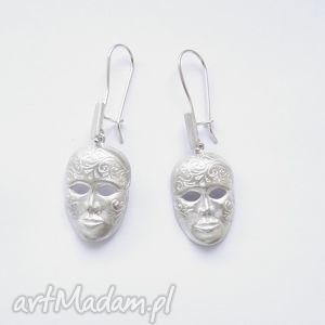 Kolczyki srebrne - Maski Weneckie w satynie, biżuteria, srebro,