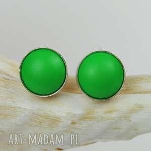drobinki srebrne z perłami swarovski d065, małe kolczyki, zielone kolczyki