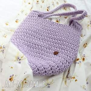 ręcznie zrobione na ramię duża torba ze sznurka w kolorze lawendowym