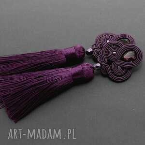 fioletowe kolczyki sutasz, sznurek, eleganckie, wiszące, wieczorowe, chwost, długie
