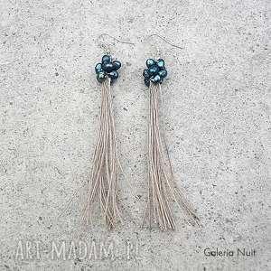galeria nuit stalowe perełki - długie kolczyki, stalowe, długie, wiszące