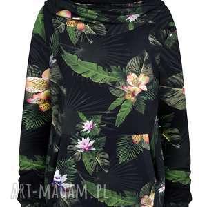 czarna bluza kangurka w kwiaty i liście z dużym kapturem golfem s - xl
