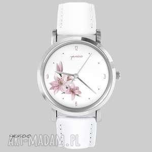 Prezent Zegarek, bransoletka - Różowa lilia biały, skórzany, zegarek,