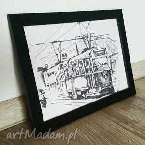 tramwaj warszawa grafika na ścianę, tramwaj, grafika, dekoracja, warszawa, rękodzieło