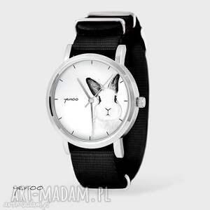 zegarek, bransoletka - królik - czarny, nato - zegarek, bransoletka, nato, królik