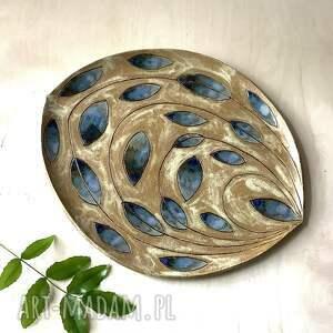 patera/talerz niebieskie łezki, patera ceramiczna, rękodzieło, beżowy talerz